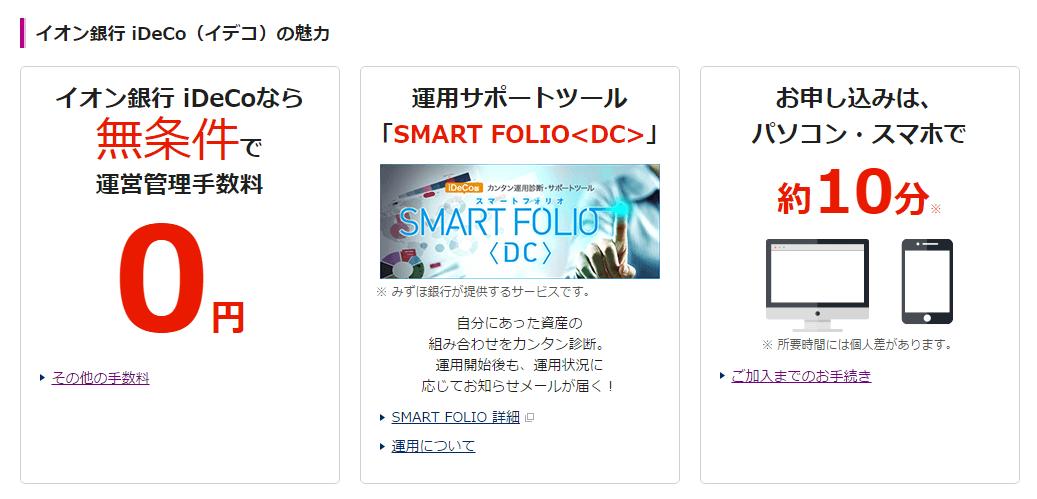 イオン銀行のiDeCoの特徴