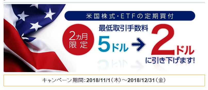 【2ヶ月間限定】米国株式・ETF定期買付手数料引下げキャンペーン!